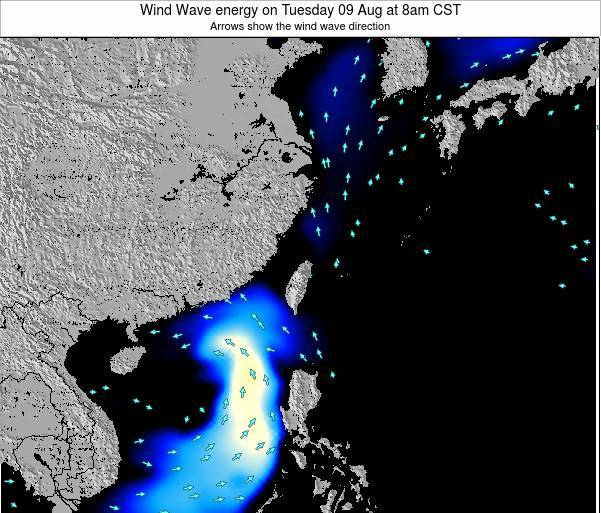 Taiwan Wind Wave energy on Monday 23 Apr at 8am CST map