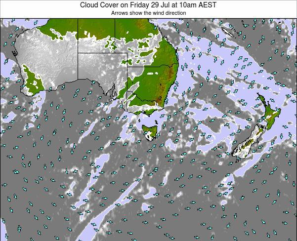 Victoria Cloud Cover on Saturday 25 Oct at 5am EST