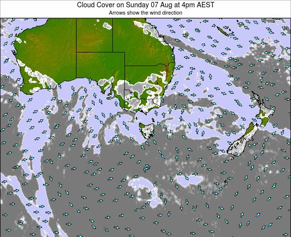 Victoria Cloud Cover on Wednesday 29 May at 10am EST