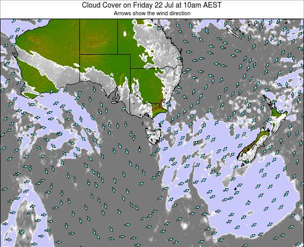 Victoria Cloud Cover on Wednesday 06 Aug at 10am EST