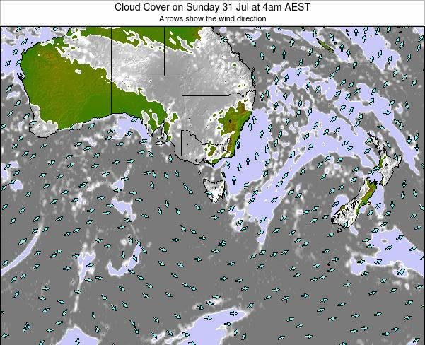 Tasmania Cloud Cover on Tuesday 07 Oct at 4pm EST