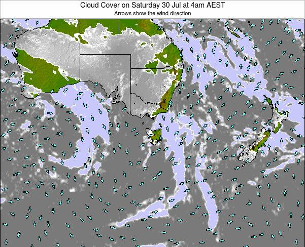Tasmania Cloud Cover on Wednesday 30 Apr at 4pm EST