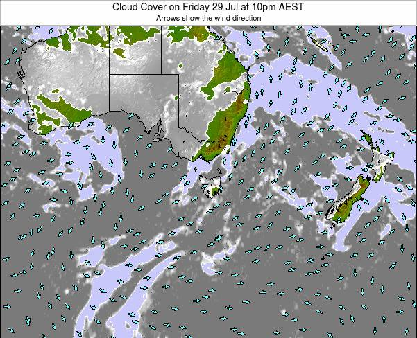 Tasmania Cloud Cover on Friday 25 Apr at 4am EST