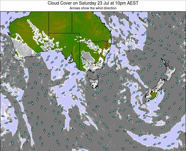 Victoria Cloud Cover on Wednesday 23 Jul at 4pm EST