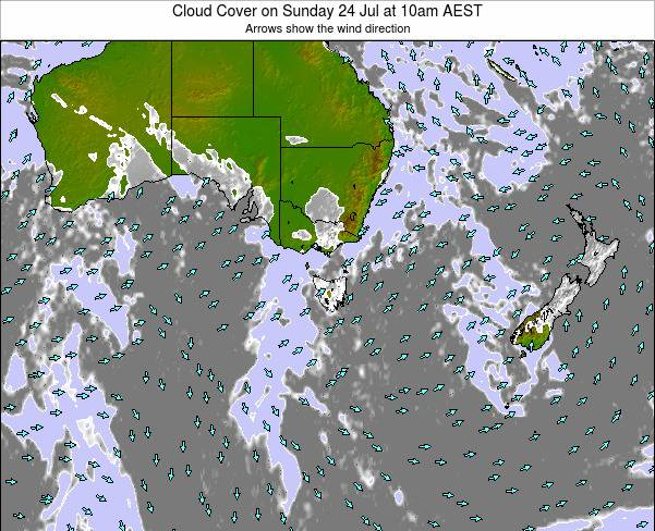 Victoria Cloud Cover on Thursday 23 May at 10am EST