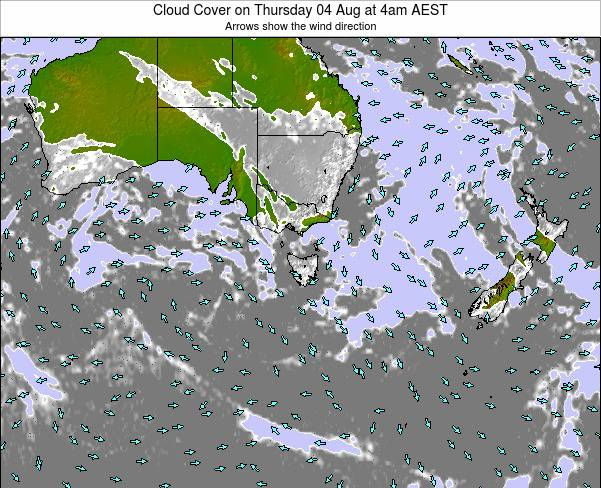 Victoria Cloud Cover on Friday 25 Jul at 10pm EST