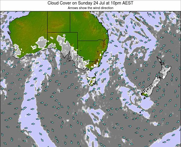 Victoria Cloud Cover on Monday 09 Mar at 5pm EST