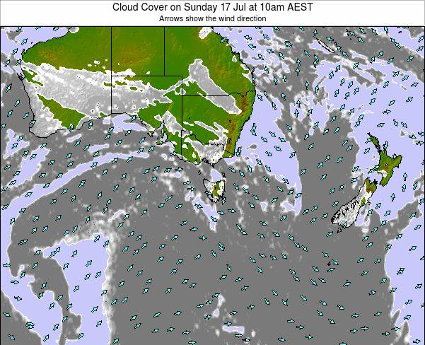 Victoria Cloud Cover on Thursday 12 Dec at 5am EST