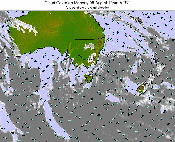 Victoria Cloud Cover on Saturday 15 Mar at 5am EST