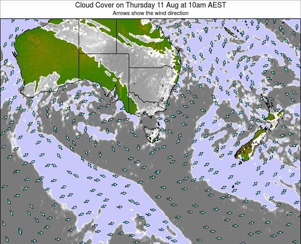 Victoria Cloud Cover on Saturday 19 Apr at 4pm EST