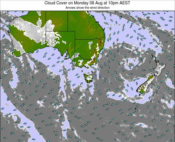 Victoria Cloud Cover on Friday 01 Aug at 10am EST