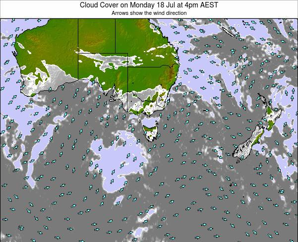 Victoria Cloud Cover on Monday 16 Dec at 11am EST