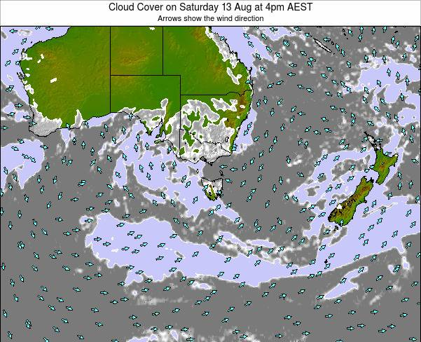 Victoria Cloud Cover on Tuesday 05 Aug at 10am EST