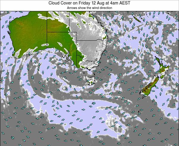 Victoria Cloud Cover on Thursday 27 Nov at 11pm EST