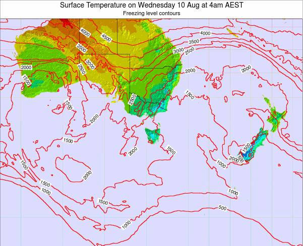 Tasmania Surface Temperature on Wednesday 29 May at 4pm EST
