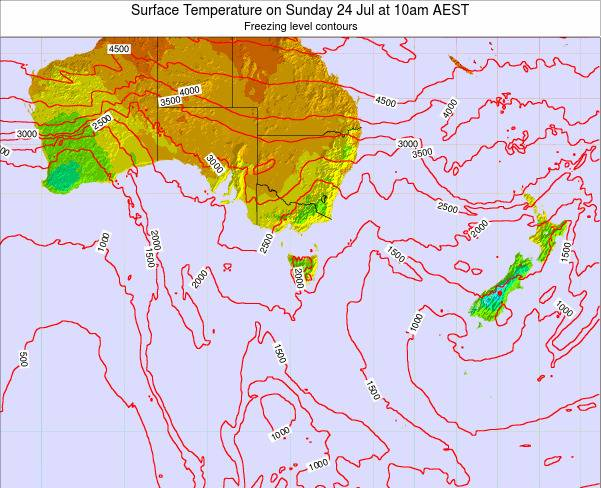 Tasmania Surface Temperature on Wednesday 22 May at 4pm EST