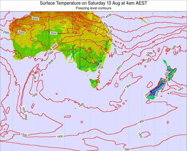 Tasmania Surface Temperature on Sunday 26 May at 4am EST