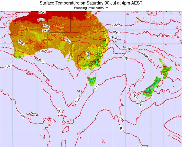 Tasmania Surface Temperature on Thursday 30 May at 4pm EST