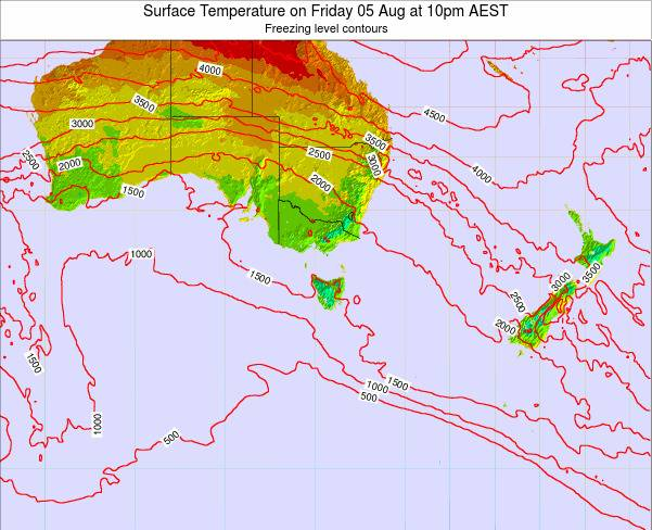 Tasmania Surface Temperature on Thursday 20 Jun at 4pm EST