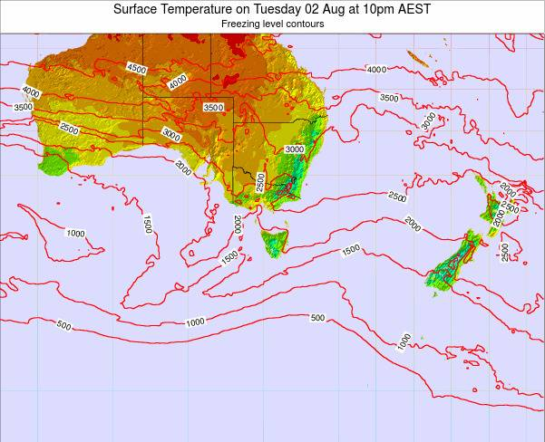 Tasmania Surface Temperature on Tuesday 21 May at 4pm EST