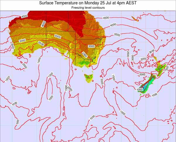 Tasmania Surface Temperature on Tuesday 28 May at 10pm EST