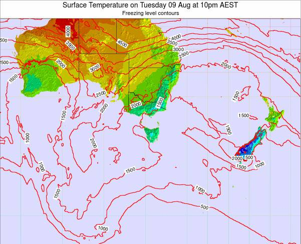 Tasmania Surface Temperature on Saturday 25 May at 4am EST