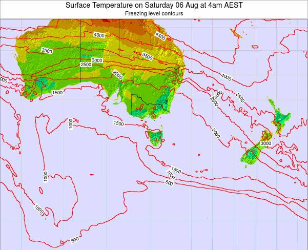 Tasmania Surface Temperature on Wednesday 22 May at 4am EST