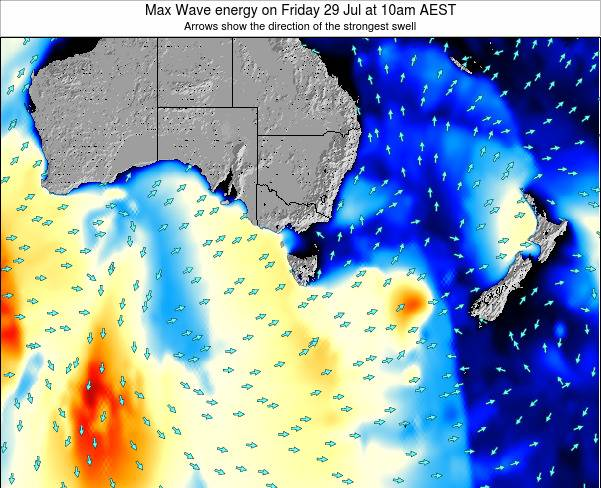 Tasmania Max Wave energy on Monday 17 Mar at 11am EST