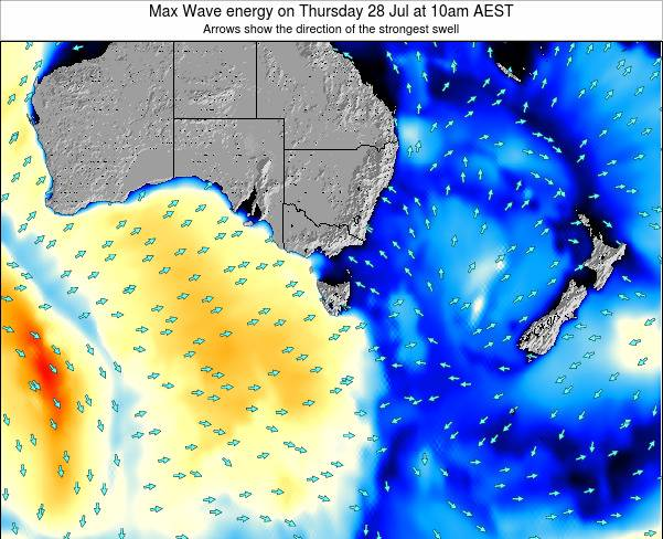 Tasmania Max Wave energy on Tuesday 18 Mar at 5am EST