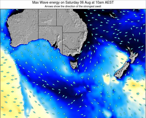 Tasmania Max Wave energy on Monday 28 Apr at 10pm EST