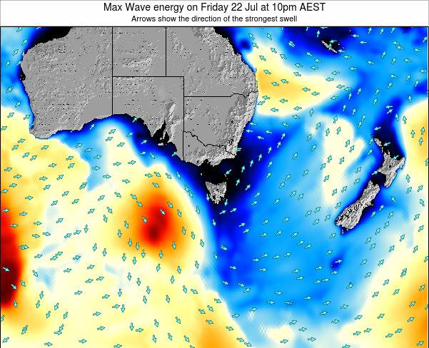 Tasmania Max Wave energy on Tuesday 29 Jul at 4am EST