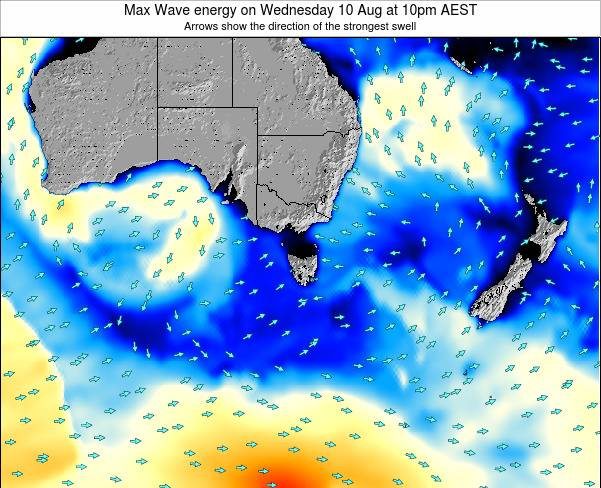 Tasmania Max Wave energy on Tuesday 25 Jun at 10am EST