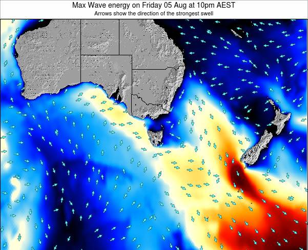 Tasmania Max Wave energy on Monday 27 May at 10pm EST