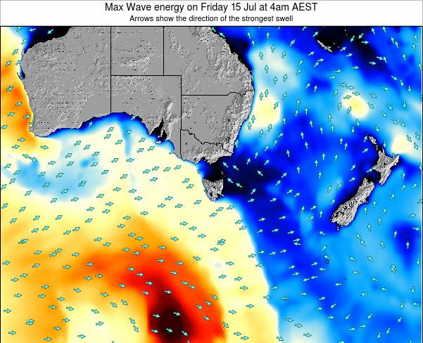 Tasmania Max Wave energy on Monday 27 May at 4pm EST