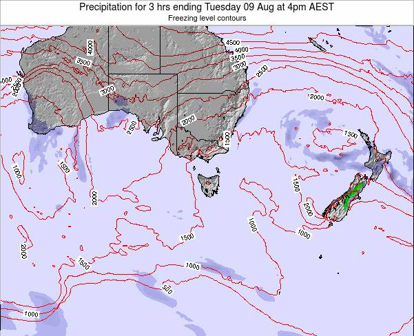 Tasmania Precipitation for 3 hrs ending Monday 22 Oct at 5pm AEDT map