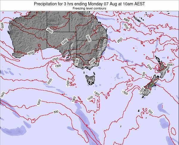 Tasmania Precipitation for 3 hrs ending Saturday 27 Apr at 4pm AEST map
