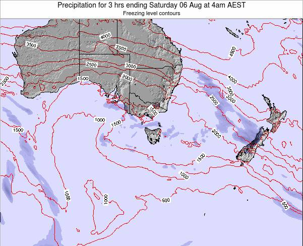 Tasmania Precipitation for 3 hrs ending Saturday 26 Jan at 11am AEDT map