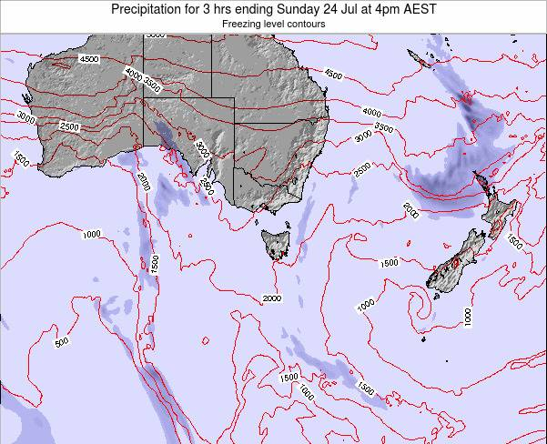 Tasmania Precipitation for 3 hrs ending Saturday 17 Nov at 11pm AEDT map