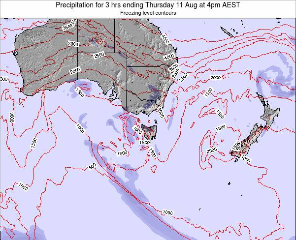 Victoria Precipitation for 3 hrs ending Monday 04 Aug at 4pm EST map