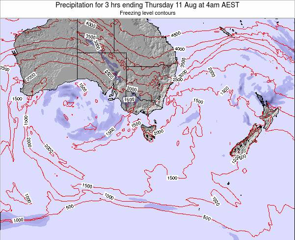 Tasmania Precipitation for 3 hrs ending Monday 21 Jan at 11pm AEDT map