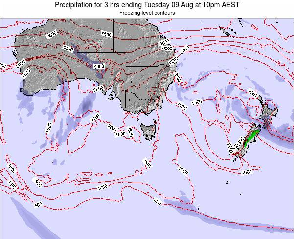 Tasmania Precipitation for 3 hrs ending Monday 28 Jul at 4pm EST