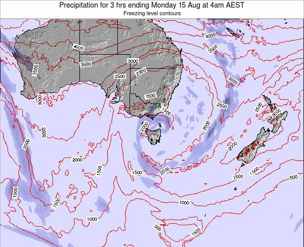 Tasmania Precipitation for 3 hrs ending Saturday 25 May at 4pm EST