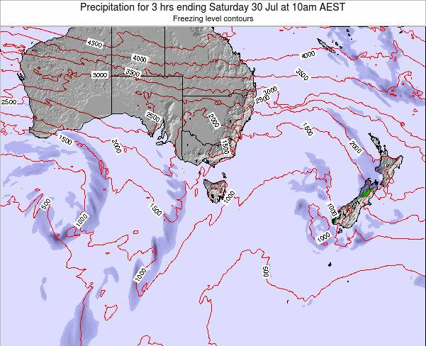 Tasmania Precipitation for 3 hrs ending Thursday 07 Aug at 4pm EST