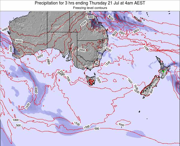 Tasmania Precipitation for 3 hrs ending Monday 17 Mar at 5pm EST