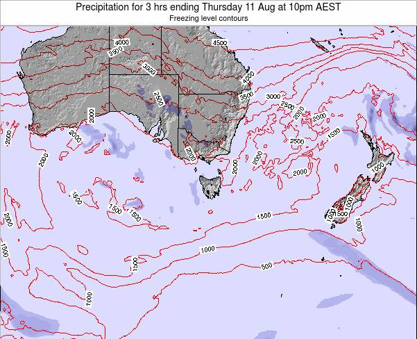 Tasmania Precipitation for 3 hrs ending Monday 06 Oct at 10pm EST