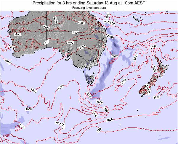Tasmania Precipitation for 3 hrs ending Thursday 25 Oct at 5am AEDT map