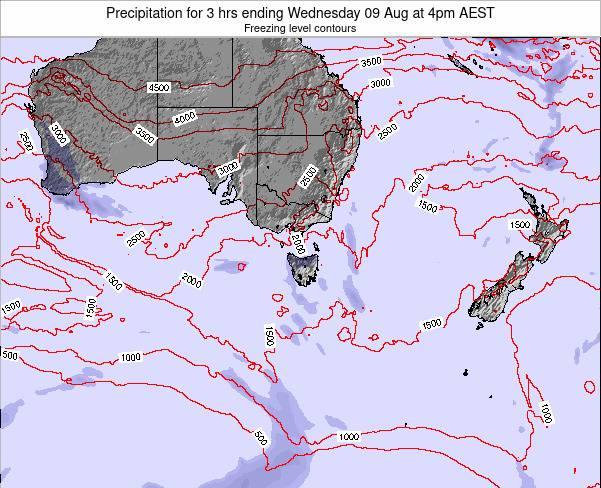 Tasmania Precipitation for 3 hrs ending Wednesday 26 Sep at 10pm AEST map