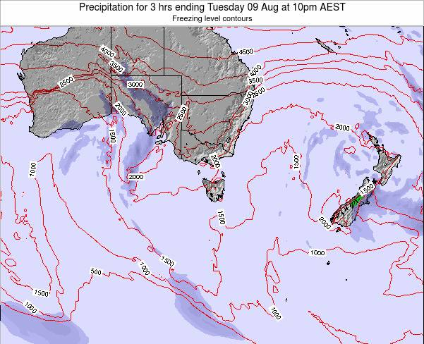 Tasmania Precipitation for 3 hrs ending Thursday 12 Dec at 5am EST