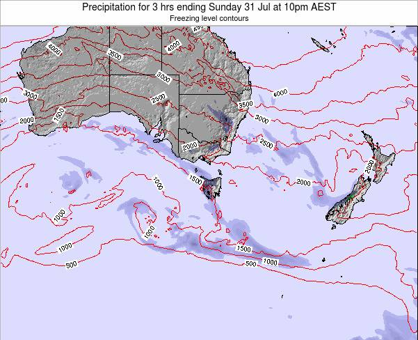 Tasmania Precipitation for 3 hrs ending Wednesday 30 Jul at 10pm EST