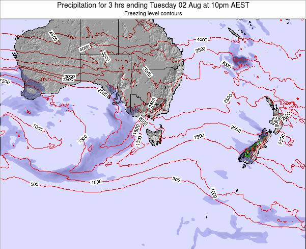 Tasmania Precipitation for 3 hrs ending Sunday 18 Nov at 5pm AEDT map